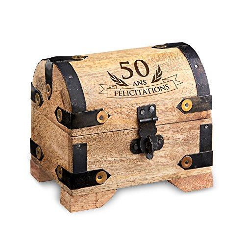 Casa Vivente - Coffret d'argent pour le 50ème anniversaire - Petit/Clair - Coffret rustique - Coffret à bijoux - Tirelire - Boîte de rangement en bois - Cadeau d'anniversaire marrant et original