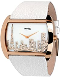 Moog Paris Skyline Reloj para Mujer con Esfera Blanca, Correa Blanca de Piel Genuina y Cristales Swarovski - M41882-102