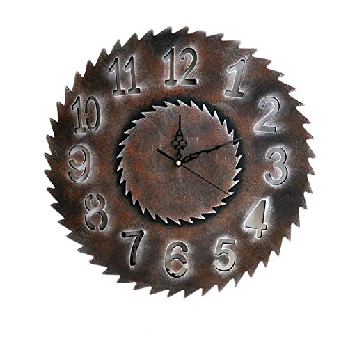 HoneybeeLY Reloj de pared de estilo industrial, reloj de pared decorativo, reloj de regalo, reloj de pared de madera, marrón, reloj ornamental de 40 cm
