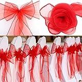 BIT.FLY 50PCS Rubans en Organza Housse de Chaise Nœuds Rubans Nœuds de Mariage Décoration de Ceremonie Fête Anniversaire 18 x 275cm(Rouge)