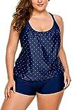Aleumdr Tankini top Damen bauchweg Tankini Set mit Hösen und Oberteil Punkte große größe Plus Size Strandbekleidung S