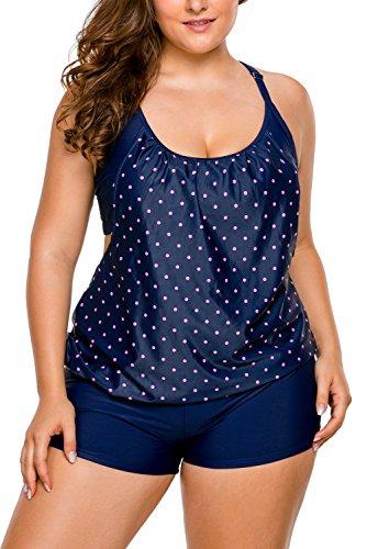 Aleumdr Oversize Tankini Push up Damen Sommer Bademode Bikini Sets Tankinis Bauchweg Große Größen Push up, Polka Dots, X-Large(EU48-EU50) -