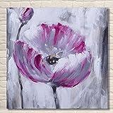 TTKX@ Handgemalte Lila Blumen Gemälden Moderner Dekoration Wandkunst Handgemachte Blume Ölgemälde Große Leinwand Bilder Grafik,40X40Cm