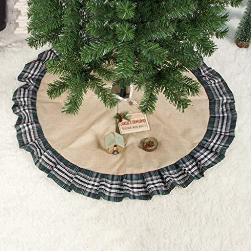 vijTIAN - Copri-Base per Albero di Natale in Tessuto Plaid 100 cm per Aggiungere Il Tocco Finale al Tuo Albero di Natale con Questo Tappeto Ultra Moderno per Albero di Natale Grigio
