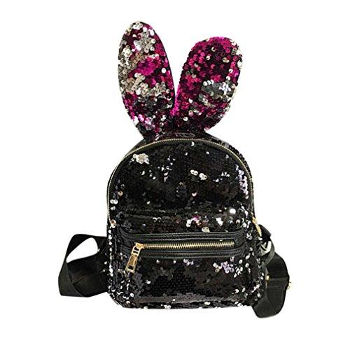 Zaini Moda,Kword Donne Tempo Libero Scuola Borsa Viaggio Pack Ragazze Paillettes Backpack (Rosso)