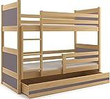 Interbeds Etagenbett Rico 200x90cm Farbe: Kiefer, mit Matratzen und Lattenroste (GRAU)