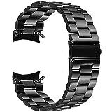 V-MORO Gear S3 Frontier/Gear S3 Classic Watch Armband, 22mm (Metall schwarz) Solider Edelstahl Metall Ersatz Bracelet Strap Band Uhrenarmband für Samsung Gear S3 Frontier/Classic Watch