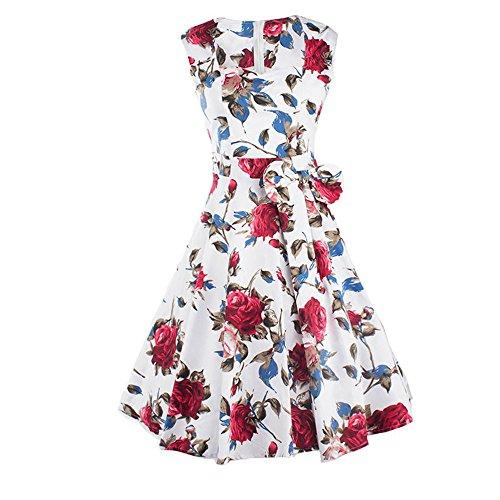 Druck-knie-länge-kleid (DaBag Charmant und Elegant Stil Blumen-Druck Knie-Länge fest Taille Abendkleid großen Rock Kleid (L, Rot))