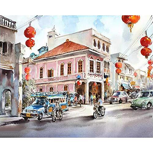 wqavten Malen nach Zahlen Malen nach Zahlen DIY Chinese New Year Landschaft Bild Zeichnung Dekoration Wohnzimmer einzigartige Geschenke dekor Kunst 40x50 cm (Dekorationen Für Das Chinese New Year)