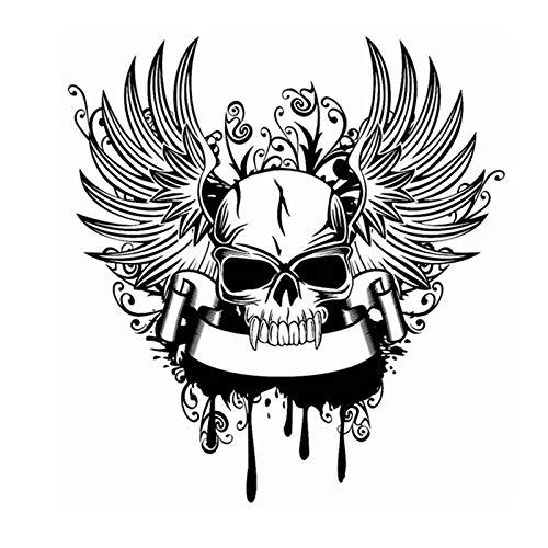 Schädel Halloween Flügel Aufkleber Punk Tod Aufkleber Horror Halloween Teufel Poster Name Autofenster Kunst Wandtattoos Dekor Wandbild 58 * 62 cm