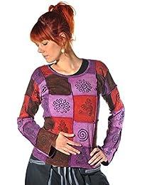 Patchwork Shirt Pullover Oberteil Sweatshirt Zip Hoodie Freizeitshirt Hippie Goa Psy Sweater Asha