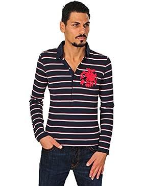 Versus Versace Suéter Hombre Azul Oscuro Blanco,Rojo normal algodón casual 36
