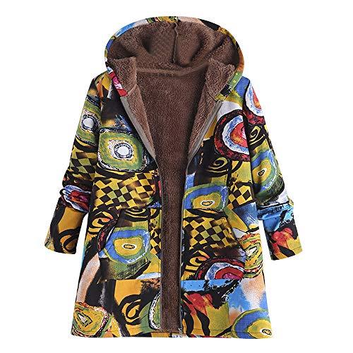 n Winter Warm Outwear MYMYG Blumendruck mit Kapuze Taschen Vintage Oversize Mäntel drucken Lässige Kapuzenoberteil (E2-Gelb,EU:46/CN-4XL) ()