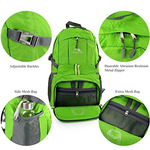 Qyuhe® 35L zusammenklappbarer ultra leichter Rucksack Outdoor Reiserucksäck Wanderrucksäcke Trekkingrucksäck Backpack Daypack für Damen und Herren Grün