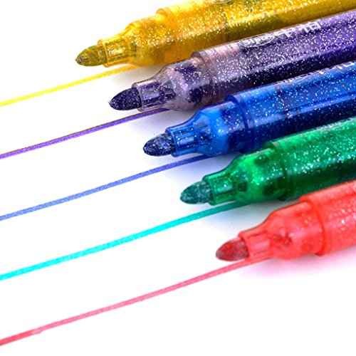 Glitter Marker mittel Spitze, sayeec Glitzer Stifte Färben Stifte Malen Art Marker Textmarker für DIY Karte machen Zeichnen Färben Fotoalbum Geburtstag Geschenk 5 Pack-Red,green,blue,yellow,purple Stylus Pen Pack