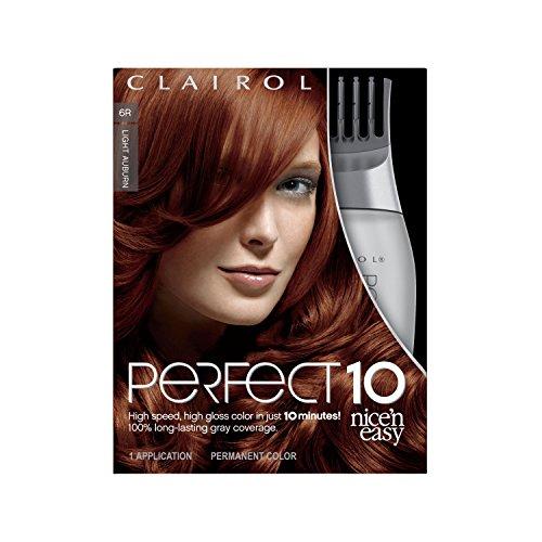 Clairol Coloration Nice 'N Easy Perfect 10 - Coloration riche et ultra-lustrée couvrant le gris à 100% en 10 minutes - Couleur 6R Roux éclair (Acajou clair)