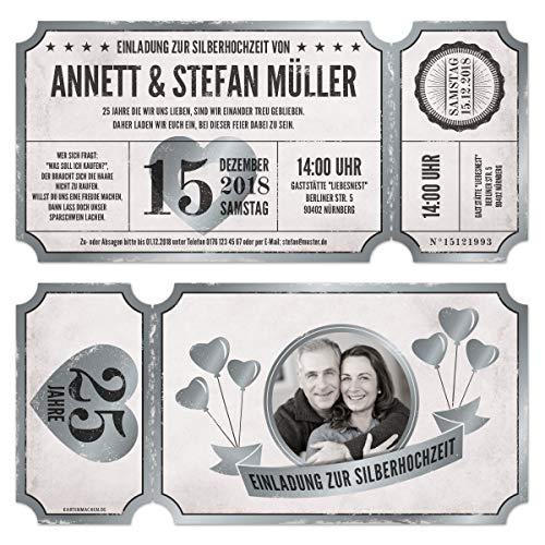 10 x Lasergeschnittene Silberhochzeit Einladungen mit Ihrem Inhalt und echtem Abriss - Vintage Ticket Luftballons