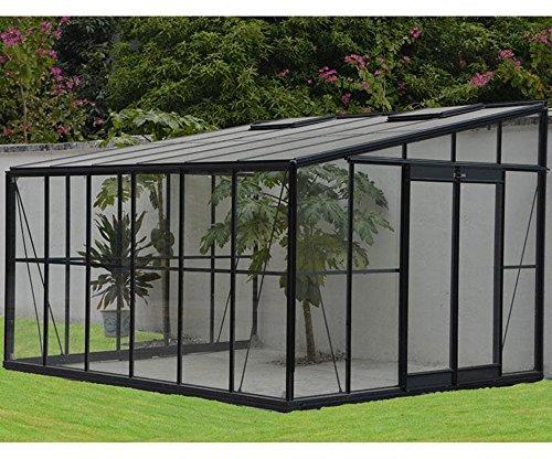 Serre grise Jardin d'hiver 12m² adossable avec base, 375 x 316 x 250 cm -PEGANE-