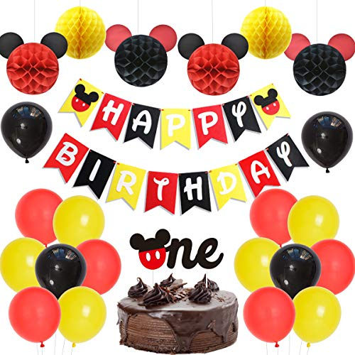 Fangleland Mickey Mouse Theme 1. Geburtstag Dekorationen liefert Jungen Mädchen erste Geburtstagsfeier mit rot schwarz und gelb Mickey Mouse Happy Birthday Banner (Mickey Birthday Happy)