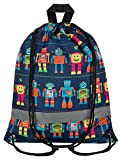 Aminata Kids - Kinder-Turnbeutel Fuer Junge-n Roboter RobotsSport-Tasche-n Gym-Bag Sport-Beutel-Tasche blau bunt