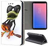 Samsung Galaxy S3 / S3 Neo Hülle Premium Smart Einseitig Flipcover Hülle Samsung S3 Neo Flip Case Handyhülle Samsung S3 Motiv (1077 Frosch Cartoon Grün Schwarz Orange)
