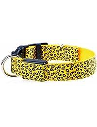 photovie rechargeable Nuit éclairage LED Motif léopard collier en nylon durable pour la plupart des Chiens de taille