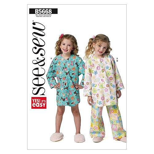 McCalls-Patterns-Butterick-Patterns-B5668-Patrn-para-pijamas-infantiles-de-nia-tallas-31-32-33-34-35-36-38-y-40-1-unidad-color-blanco
