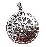 Himalayan Treasures 925Sterling Silber schwarz Sonne Viking nordischen Germanisches Symbol Anhänger A34