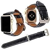 Für Apple Watch Armband 42mm, Qianyou Retro Vintage Echtes Leder Alligator Ersatzband mit Verschluss aus Edelstahl für Apple Watch Serie 3 Serie 2 Serie 1 Sport und Editionsversionen (Saphir Blau)