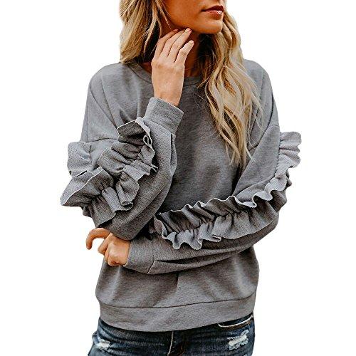 Briskorry Damen Pullover Langarm Herbst Rundhals Sweatshirt Langarmshirt -
