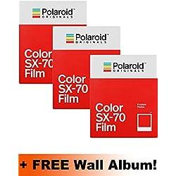 Polaroid Originals - Triple pack de recharges pour Polaroid SX70 couleur (24photos)+ album mural
