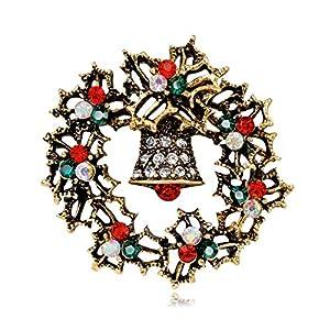 XBY.mi 1PCS Elegante Romantico Inverno Natale Babbo Natale Fiore Alce Spilla (Campana d'oro)