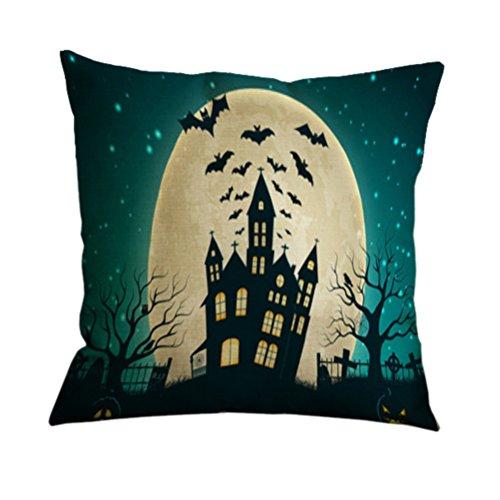 Nunubee Startseite Sofa Dekor Kissenbezug Hexe Katzen Kürbis Halloween Kissenbezug 24