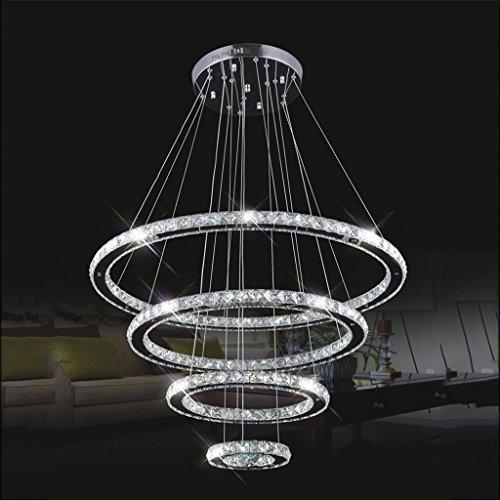 S&RL Bad Spiegel Lampen Edelstahl Kristall Kronleuchter Led Runde Einfache Restaurant Wohnzimmer Treppen Kronleuchter, 20 + 40 + 60 + 80 cm