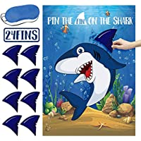 Pin The Fin On The Shark Game Birthday Party Favor Suppliesfor Kids Include Shark Poster, Shark Fin Sticker and Blindfold