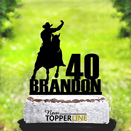 Horse Rider Tortenaufsatz, Birthday Cake Topper, Custom Western Riding Tortenaufsatz mit Name, Geburtstag Cowboy Riding Horse, rider, Rider Party derotion (Tree Topper Western)