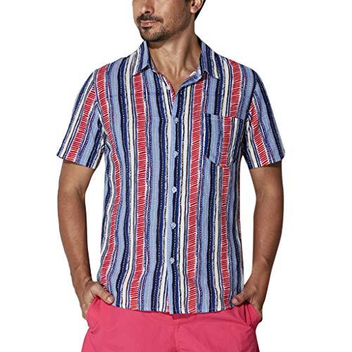 Fenverk Marke Men Casual Kurzarm-Leinen Shirts Strand-Hemden Leinenhemd Herren Henley Shirt Freizeithemden Hemd Leinen Stehkragen Sommer Freizeithemd(Blau D,S)