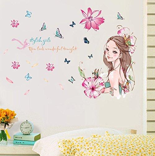 Aoligei Blumen Mädchen schöne Karikatur Schlafzimmer Wohnzimmer Dekoration Wandaufkleber