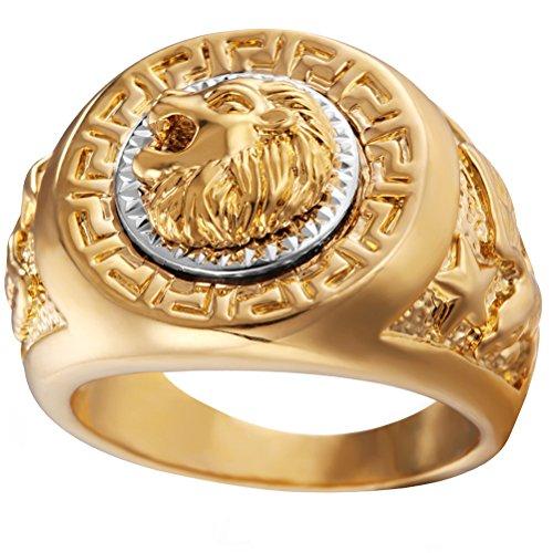 HIJONES Herren Edelstahl Golden Hip Hop Löwe Kopf Ring Signet Style Größe 60