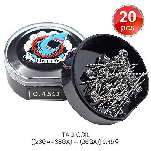 [Small Size]20 PCS Filo Resistivo,TAIJI Coil Prefabbricato Wire by Vapethink AWG(28GA+38GA) + (26GA),2.8mm 0.45 ohm
