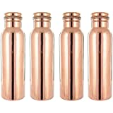 Ikon 100% Pure Copper Bottle, Leak Proof & Joint Free For Ayurvedic Health Benefits, Pack Of 4 (Each 1000 ML)
