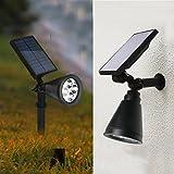 [Solar Gartenstrahler mit Erdspieß ] Pflanzenlichter Spotlight 4 LED Gartenleuchten Wasserdicht Outdoorleuchte für Garten Hinterhof Rasen Baum Hinterhof Terrasse