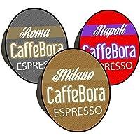 Confezione di 150 capsule compatibili con le macchinette del caffè Lavazza. Marchio CaffeBora.