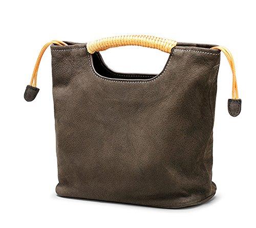 Xinmaoyuan Damen Handtaschen vertikalen Abschnitt Square Handtasche aus echtem Leder Retro Bucket Bag Schulter diagonal gewebten Beutel, Karamell Farbe Braun