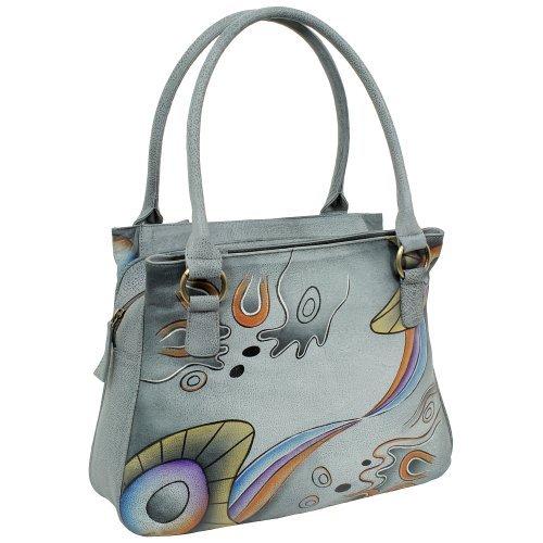 Geschenkset - exklusiver Greenland Nature Schlüsselanhänger + Art & Craft Umhängetasche Handtasche Henkeltasche Schultertasche Damentasche Shopper A4 Leder 37cm handbemalt