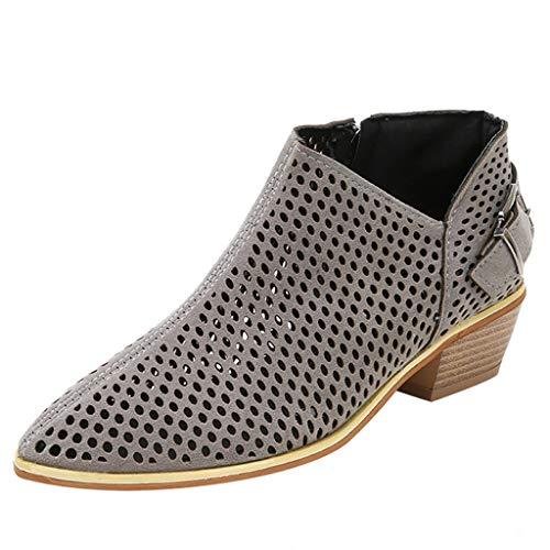 JUSTSELL_Schuhe für Damen Mädchen,Frauen Aushöhlen Schuhe Booties Schnalle Strap Dicker Absatz Einzelne Schuhe