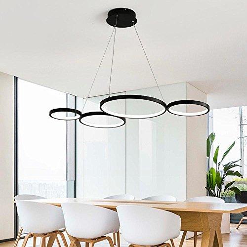 OOTEN Dimmbare Fernbedienung Modern LED Hängeleuchte Geometrie Ring Design Acryl Decke Pendellampe Für Esszimmer Schlafzimmer Wohnzimmer 4 Ringe,Black (Zeitgenössischen Schwarze Esstisch)