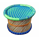 Virasat Furniture Single Cane Bar Bamboo Stool/Muddha For Outdoor/Indoor/Furnishing/Color: Multi