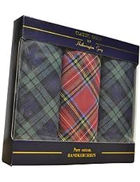 3 paquets de mouchoirs homme 100% pur coton à carreaux dans paquet cadeau
