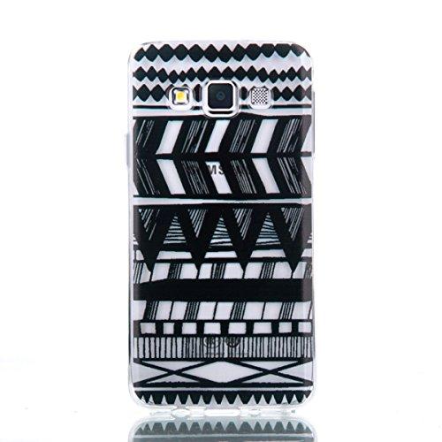 Ekakashop Transparente Flexible TPU Couqe pour Samsung Galaxy A3, Ultra Mince Doux Soft Silicone Protectrice Couverture Housse pour Galaxy A3, Motifs de Attrape Reve Cas Case Back Cover Defender Bumpe Tribal Noir
